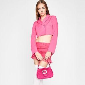 Dolls Kill Pink Sweet Office Heaux Cropped Blazer